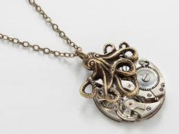 long pendant necklace vintage images Steampunk necklace vintage silver watch movement gold octopus jpg