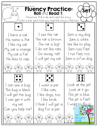 First Grade Sight Words Worksheets Fluency Practice Roll A Die And Read A Simple Sentence Made Of