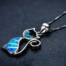 blue sterling silver necklace images Blue fire cat sterling silver necklace fanduco jpg