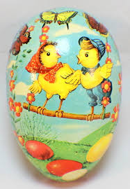 paper mache egg vintage large paper mache easter egg candy container west germany
