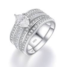 what is a bridal set ring marquise cut white sapphire sterling silver women s bridal set