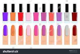 womans fingers color set different nail stock vector 432501721