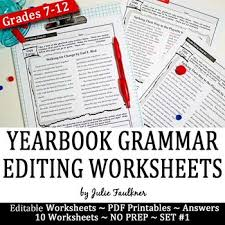 Editing And Proofreading Worksheets Yearbook Grammar Proofreading Worksheets Editable Set 1