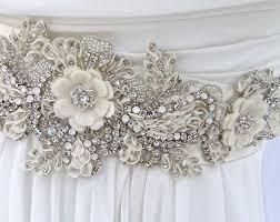 ivory beaded bridal sash wedding sash with crystals wedding dress