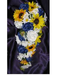country wedding bouquets custom royal blue sunflower wedding bouquet set sunflower country