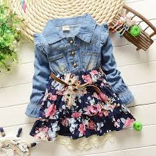 baby dresses denim t shirts girls floral clothes ruffles long