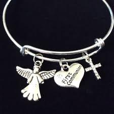 communion jewellery communion cross and angel expandable charm bracelet