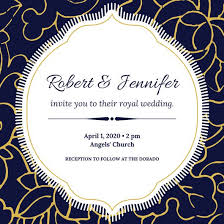 blue white gold floral elegant royal wedding invitation