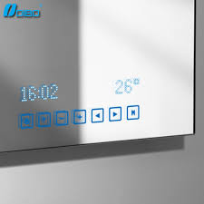 Bathroom Mirror With Clock Bathroom Touch Screen Bluetooth Mirror View Bluetooth Mirror