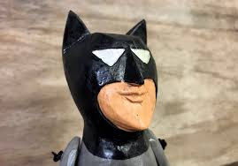 comic book puppet carved wooden sitting ornament 25 cm