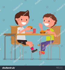 children two boys eat hamburgers dining stock vector 554012077
