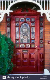 exterior stained glass red front door british housing london stock