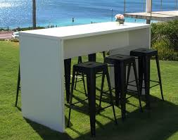 Tolix Bar Table Furniture White High Top Outdoor Table And Black Tolix Chairs Set