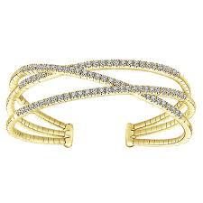gold bangle bracelet with diamonds images 14k yellow gold diamond 3 row criss cross bangle bracelet jpg