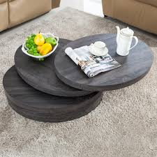 modern contemporary black oak round rotating wood coffee table