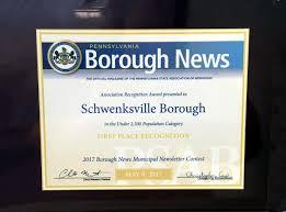 schwenksville borough pennsylvania u0027s first greenway community