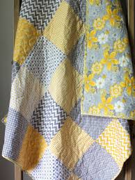 gender neutral baby quilt grey and yellow nursery bedding baby boy