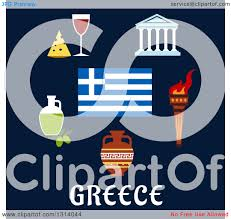 clipart of a flat design of traditional greek items and flag over