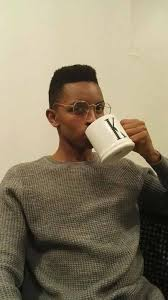 Black Guy With Glasses Meme - handsome black man drinking coffee or tea with strong eye contact