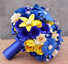 wedding flowers royal blue royal blue and yellow wedding bouquets pomanders corsages and