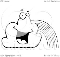 cartoon clipart of a black and white happy rainbow with two clouds