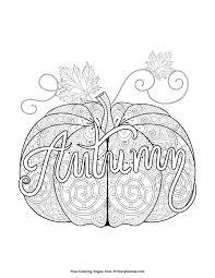 fall coloring autumn pumpkin zentangle free printable