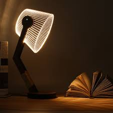 adjustable 3d wooden stand lamp night light bedroom table desk