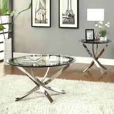 round chrome side table chrome end tables nickel round tempered glass top chrome legs