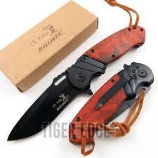 groomsmen knife elk ridge black wood assist folding pocket knife edc