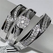 trio wedding sets trio wedding set three mens band and womens bridal rings 10k