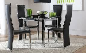 Orbit Round Glass  Chrome Dining Table And  Chairs Set Perth - Black dining table for 4