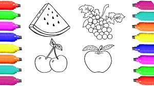 how to draw watermelon apple cherry grape coloring pages fruit