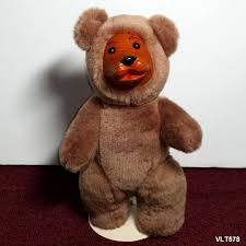 wooden faced teddy bears wood carved bottom jointed plush stuffed