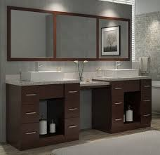 Inch Walnut Finish Double Sink Bath Vanity With Makeup Area - Pictures of bathroom sinks and vanities 2