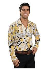 halloween hippie costumes yellow disco 70s shirt 70s mens halloween costumes