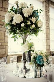 wedding reception centerpieces ivory hydrangeas teal accents