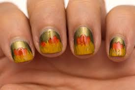 fall inspired nail art for short nails with cosmetics aficionado