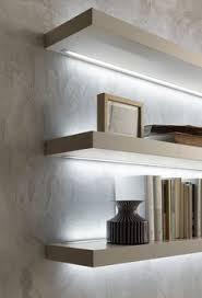 shelf with lights underneath use led light bars or led strip lights to create lighting under