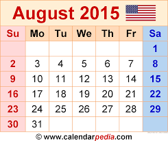 printable monthly calendars august 2015 august 2015 calendars for word excel pdf