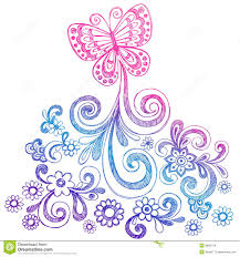 butterfly and swirls doodle vector stock vector illustration of