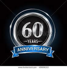 celebrating 60 years birthday 60 years anniversary logo silver ring stock vector 499996315