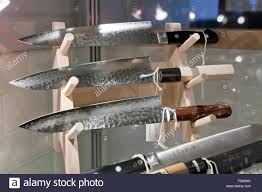 Japanese Kitchen Knives Crafted Japanese Kitchen Knives On Display Stock Photo