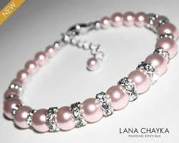 pearl bracelet swarovski images Pink pearl bracelet wedding blush pink pearl silver bracelet jpg