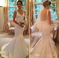 plain wedding dresses 2017 simple plain satin mermaid wedding dresses backless