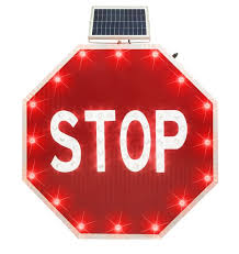 stop sign with led lights led lighting solutions solar lighting parking lot and street