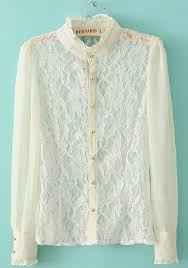 white lace blouses white lace patchwork collarless sleeve chiffon blouse