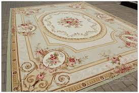 Rose Area Rug 8x10 Geometric Aubusson Area Rug Vintage French Decor Wool Home