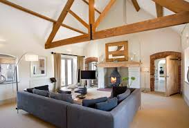modern warm nuance inside the barn conversion house plans that has
