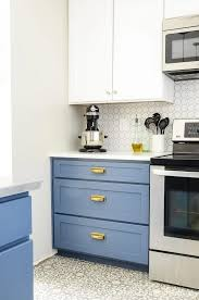 blue base kitchen cabinets blue white two tone kitchen reveal houseful of handmade