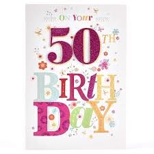 50th birthday card s purple glitter 50